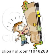 Royalty Free RF Clip Art Illustration Of A Cartoon Boy Afraid Of A Monster In A Closet by toonaday