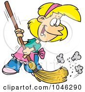 Royalty Free RF Clip Art Illustration Of A Cartoon Girl Sweeping by toonaday