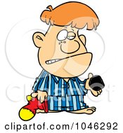 Royalty Free RF Clip Art Illustration Of A Cartoon Boy Receiving Coal For Christmas