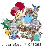 Royalty Free RF Clip Art Illustration Of A Cartoon Woman Working In Her Pjs In Her Cluttered Home Office by toonaday