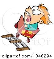 Cartoon Boy Screaming On A Roller Coaster