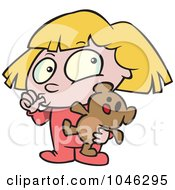 Royalty Free RF Clip Art Illustration Of A Cartoon Girl Sucking Her Thumb And Holding A Teddy Bear