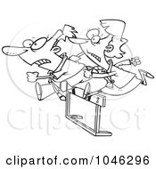 Royalty Free RF Clip Art Illustration Of A Cartoon Black And White Outline Design Of A Racing Business Man And Woman Jumping Over A Hurdle by toonaday