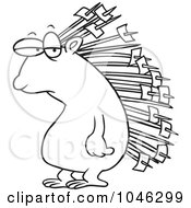 Royalty Free RF Clip Art Illustration Of A Cartoon Black And White Outline Design Of A Porcupine With Memos On His Quills