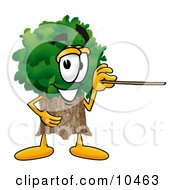 Clipart Picture Of A Tree Mascot Cartoon Character Holding A Pointer Stick by Toons4Biz