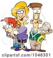 Royalty Free RF Clip Art Illustration Of A Cartoon Silly Family