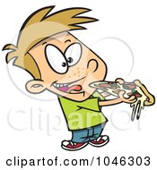 Royalty Free RF Clip Art Illustration Of A Cartoon Boy Eating Pizza by toonaday
