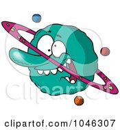 Royalty Free RF Clip Art Illustration Of A Cartoon Goofy Planet by toonaday