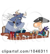 Royalty Free RF Clip Art Illustration Of A Cartoon Cowboy And Bull Playing Poker by toonaday
