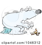 Royalty Free RF Clip Art Illustration Of A Cartoon Cold Polar Bear By A Fire by toonaday