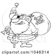 Cartoon Black And White Outline Design Of A Santa Pirate