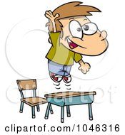 Royalty Free RF Clip Art Illustration Of A Cartoon School Boy Jumping Over His Desk