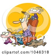 Royalty Free RF Clip Art Illustration Of A Cartoon Father And Kids Watching A Movie