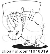 Cartoon Black And White Outline Design Of A Rhino Holding Up A Blank Banner
