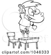 Royalty Free RF Clip Art Illustration Of A Cartoon Black And White Outline Design Of A School Boy Jumping Over His Desk