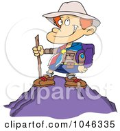 Royalty Free RF Clip Art Illustration Of A Cartoon Boy On Top Of A Mountain by toonaday