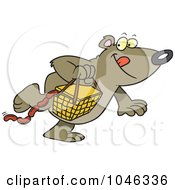 Cartoon Bear Stealing A Picnic Basket