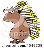 Royalty Free RF Clip Art Illustration Of A Cartoon Porcupine With Memos On His Quills by toonaday