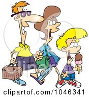 Cartoon Family Going On A Picnic