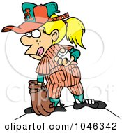Royalty Free RF Clip Art Illustration Of A Cartoon Baseball Girl Pitching