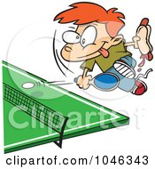 Cartoon Boy Holding A Hot Dog And Playing Ping Pong