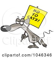 Royalty Free RF Clip Art Illustration Of A Cartoon Mouse Carrying A No To Catz Sign by toonaday