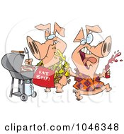 Royalty Free RF Clip Art Illustration Of Cartoon Happy Pigs At A BBQ by toonaday