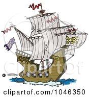 Cartoon Pirate Ship Shooting Cannons