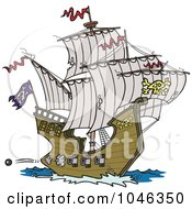 Royalty Free RF Clip Art Illustration Of A Cartoon Pirate Ship Shooting Cannons by toonaday