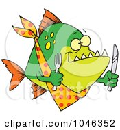 Royalty Free RF Clip Art Illustration Of A Cartoon Hungry Piranha Fish