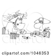 Royalty Free RF Clip Art Illustration Of A Cartoon Black And White Outline Design Of A Cowboy And Bull Playing Poker by toonaday