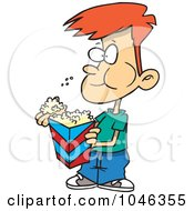 Royalty Free RF Clip Art Illustration Of A Cartoon Boy Eating Popcorn
