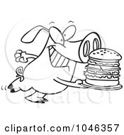 Royalty Free RF Clip Art Illustration Of A Cartoon Black And White Outline Design Of A Pig Carrying A Big Burger
