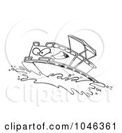 Royalty Free RF Clip Art Illustration Of A Cartoon Black And White Outline Design Of A Pontoon Boat Character