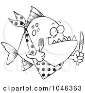 Royalty Free RF Clip Art Illustration Of A Cartoon Black And White Outline Design Of A Hungry Piranha Fish