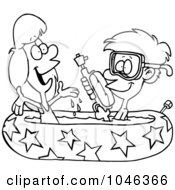 Royalty Free RF Clip Art Illustration Of A Cartoon Black And White Outline Design Of A Boy And Girl Playing In A Kiddie Pool