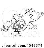 Royalty Free RF Clip Art Illustration Of A Cartoon Black And White Outline Design Of A Bear Stealing A Picnic Basket