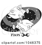 Cartoon Black And White Outline Design Of A Pisces Astrology Fish Over A Black Oval