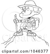 Royalty Free RF Clip Art Illustration Of A Cartoon Black And White Outline Design Of A Boy On Top Of A Mountain by toonaday