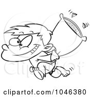 Cartoon Black And White Outline Design Of A Boy Starting A Pillow Fight