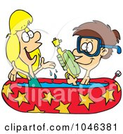 Royalty Free RF Clip Art Illustration Of A Cartoon Boy And Girl Playing In A Kiddie Pool