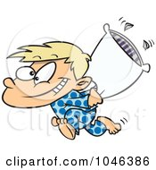 Royalty Free RF Clip Art Illustration Of A Cartoon Boy Starting A Pillow Fight