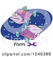 Royalty Free RF Clip Art Illustration Of Cartoon Pisces Astrology Fish Over A Blue Oval