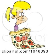 Royalty Free RF Clip Art Illustration Of A Cartoon Girl With A Giant Pizza Slice by toonaday