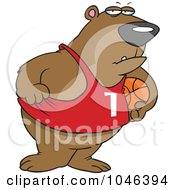Royalty Free RF Clip Art Illustration Of A Cartoon Basketball Bear by toonaday