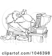 Royalty Free RF Clip Art Illustration Of A Cartoon Black And White Outline Design Of Santa Using A Computer