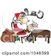 Cartoon Santa Taking A Break In A Cafe