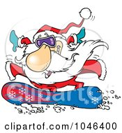 Cartoon Santa Snowboarding
