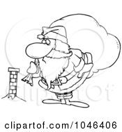 Royalty Free RF Clip Art Illustration Of A Cartoon Black And White Outline Design Of Santa Inspecting A Tiny Chimney