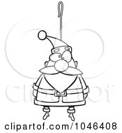 Royalty Free RF Clip Art Illustration Of A Cartoon Black And White Outline Design Of A Santa Ornament